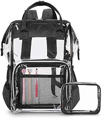 CoolBELL Clear Backpack Transparent Bag Bookbag Stadium Bag (Black)
