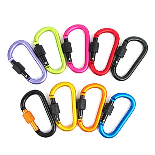 - PTMANXIU Locking Carabiner 8mm Thicker Aluminum D Ring Security Clip for Hiking Camping Fishing Traveling and Keychain Use