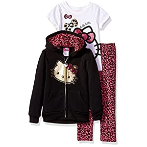 Hello Kitty Girls' 3 Piece Hooded Legging Set- Clothes for Little Girls, Hello Kitty Hoodie, Hello Kitty Shirt