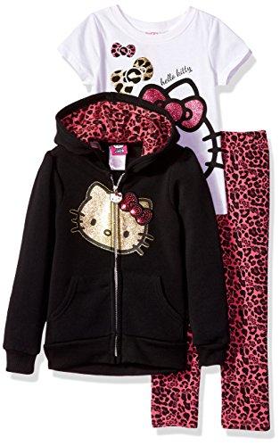 Hello Kitty Little Girls' 3 Piece Hooded Legging Set , Black, 6X (Hello Kitty Leggings)