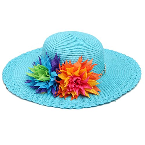 Tomily Kids Multi-Colors Large Brim Flower Link Chain Beach Straw Sun Hats for Girls (Blue) -