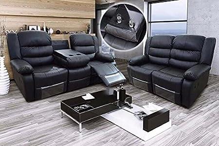 furniturestop.co.uk Romano 2+3 Seater Sofa Set Recliners Bonded Leather Black