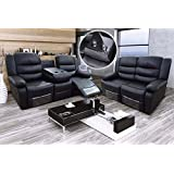Romano 2+3 Seater Sofa Set Recliners Bonded Leather - Black