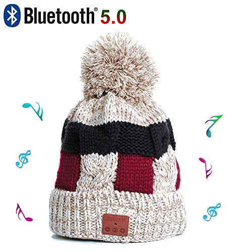 Tikobit Wireless Bluetooth Beanie Hat Lined with Woolen with Detachable HD Stereo Speakers Mic, Pom Pom Beanie Music Hats for Women Music Beanie with Rechargeable USB Winter Fitness Sports