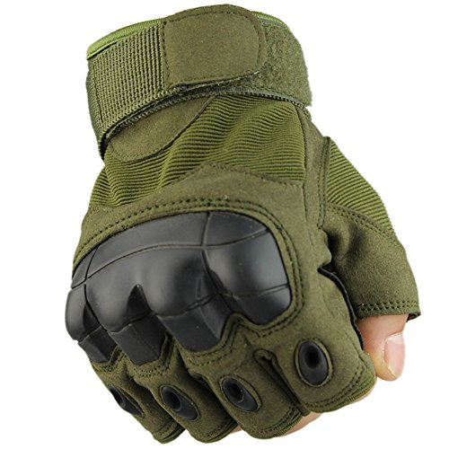 Fuyuanda Half Finger Outdoor Gloves Hard Knuckles Tactical Glove for Shooting, Military, Hunting, Driving, Paintball, Cycling, Airsoft, Army, Sporting Motorcycle Glove Olive Large