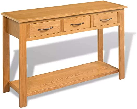 vidaXL Console Table 3 Drawers Desk Side Solid Oak Wood Hall Hallway Entrance