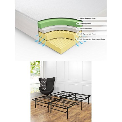 Mattress Foundation Zinus Set,/Cal King 12 Inch Green Tea Memory Foam Mattress and Shawn SmartBase Platform Bed Frame