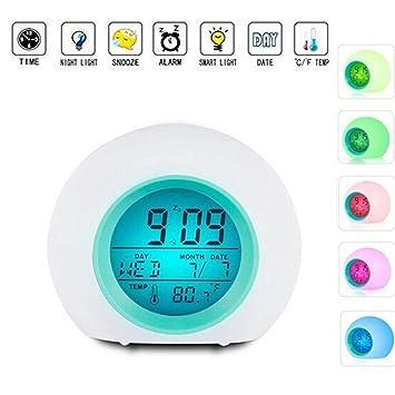 Prenine 7 Colores Que cambian el Reloj de Alarma, Lindo Despertador de Temperatura Interior Reloj Digital con luz LED para niños, niñas y dormitorios: ...