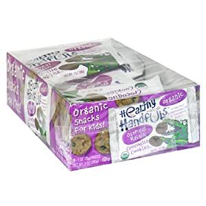 Healthy Handfuls Organic Crocodile Cookies, Oatmeal Raisin, 1-Ounce Bags in 9-Count Boxes (Pack of 4)
