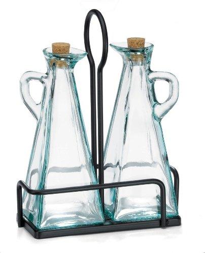 Tablecraft Marbella 3-Pc Oil & Vinegar Set w/Black Rack