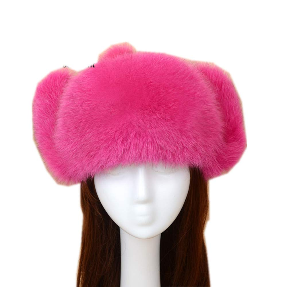Gegefur 2018 Women's Real Fox Fur Hat Warm Fur Hat Natural Warm Ear Caps Thick Leifeng Hat Bomber Beanies