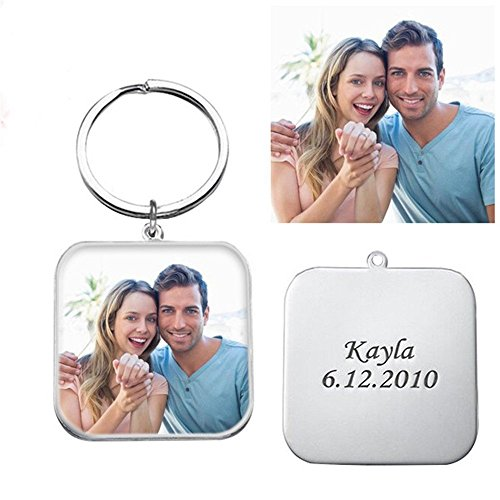 Engraved Photo Keychain 925 Silver Custom Keychain Key Ring For Fathers Gift - Full Color