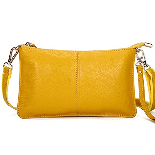 [Mynos Genuine Leather Zipper Vintage Small Women Crossbody Purse Bag(Yellow)] (Yellow Purses)