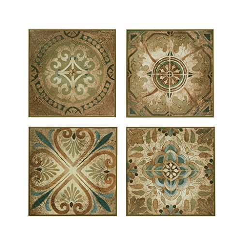 (Madison Park Bella Blue Tiles Hanging Blue Canvas Wall Art 15.15X15.15 4 Piece Multi Panel, Patterned Global Inspired Custom Wall Décor)
