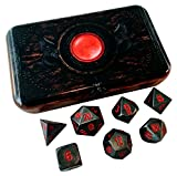 Skull Splitter Dice Butchers Bill (Metal Finish with Red Numbers)- Warlock Tome- Solid Metal Polyhedral Role Playing Game (RPG) Dice Set (7 Die in Pack) with Box