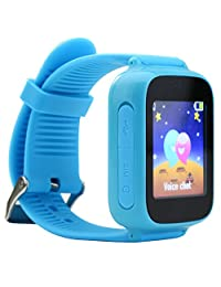 Kids Smartwatch GPS Tracking, Simple Waterproof Touch Screen GSM Phone with Anti-lost SOS WristBand Bracelet Support IOS and Android (Sky Blue)