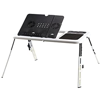Cusco Mesa para Portátil de Plegable y Ajustable Soporte para Ordenador Escritorio de PC Portátilcon con Ventiladores de Refrigeración USB para Sofá Cama ...