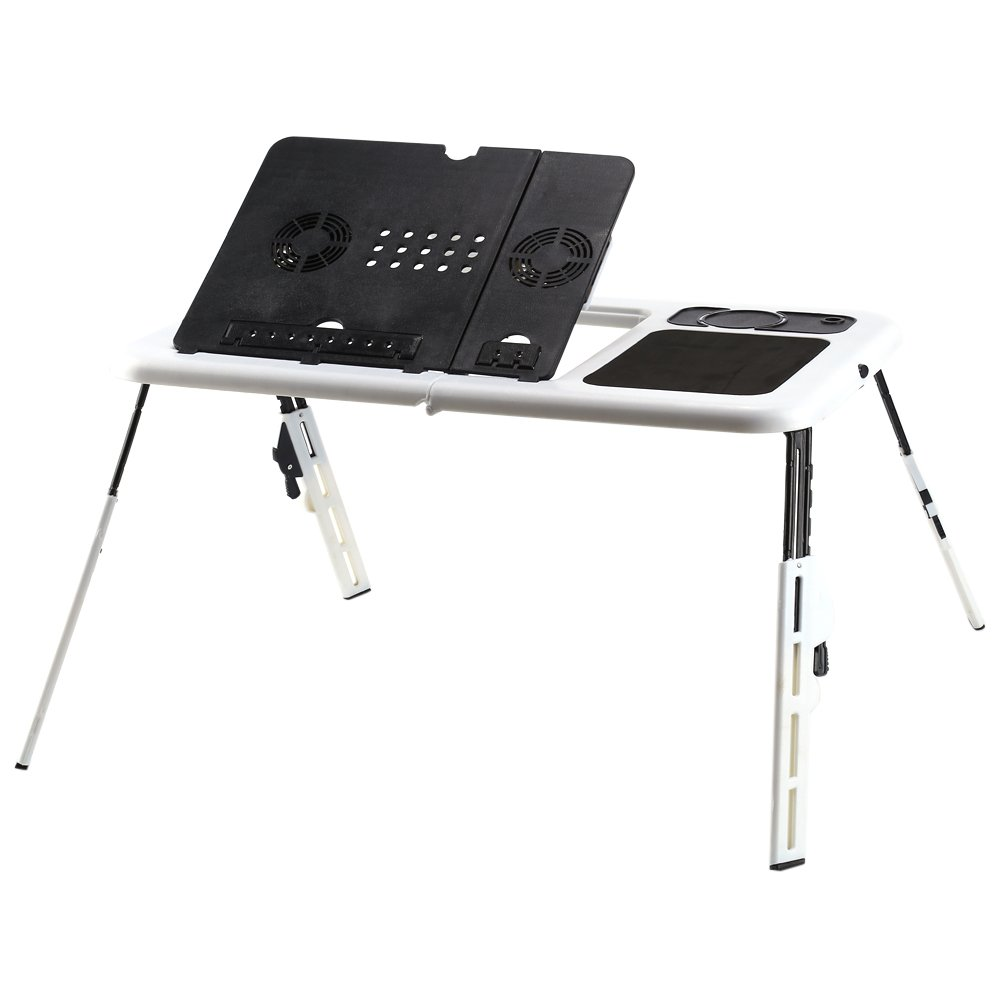 Portable Laptop Table. Greensen Folding Laptop Adjustable Computer Desk with 2 Cooling Fans, Mouse Pad and Cup Holder