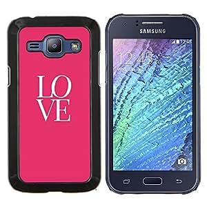 Caucho caso de Shell duro de la cubierta de accesorios de protección BY RAYDREAMMM - Samsung Galaxy J1 J100 - amor texto rosados ??valentines besan
