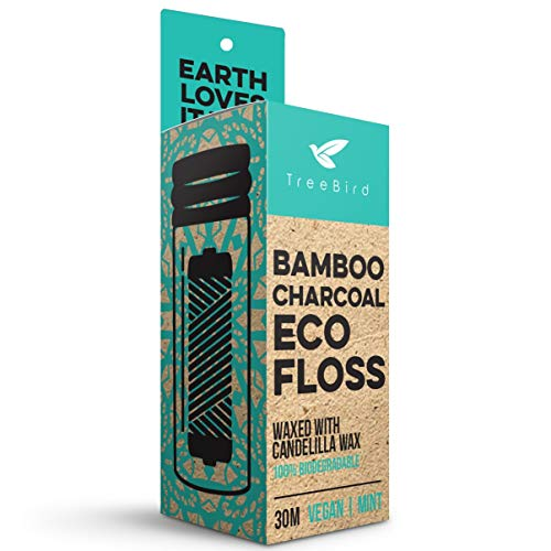 Organic Biodegradable Bamboo Charcoal Dental Floss & Refillable Glass Holder | Vegan | Naturally Waxed With Candelilla Wax | 33yd Thread Spool | Eco-Friendly Zero Waste Oral Care | Mint Flavored - $12.99
