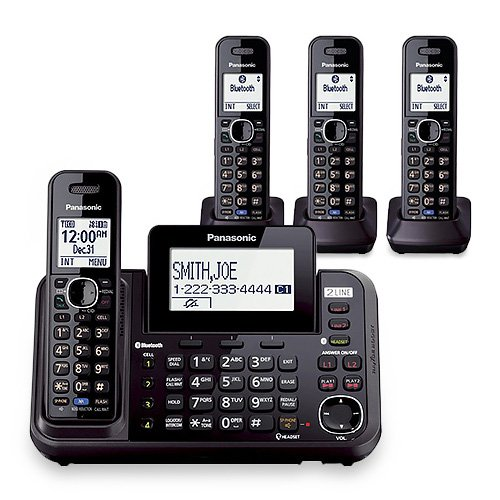 Panasonic KX-TG9542B Dect 6.0 2-Line Cordless Phone w/ Link-to-Cell & 2-Handsets + 2-Pack 2 Line Handset For - Panasonic Kxtg9582