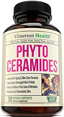 Phytoceramides Skin Care, Hair & Nails Supplement - Natural Anti-Aging, Rejuvenating & Moisturizing Formula with Vitamin A C D E. Reduces Fine Lines, Wrinkles, Facial Redness, Dryness & Dark Spots