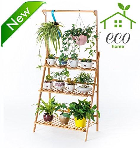 Bamboo 3-tier Hanging Plant Stand Planter Shelves Flower Pot Organizer Storage Rack folding Display Shelving Plants Shelf Unit Holder - Folding Planter