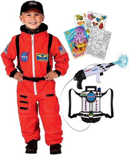 Aeromax Jr Astronaut Orange Roleplay Costume Age 8 10 With