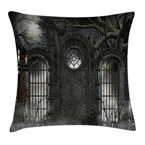Ambesonne Horror House Decor Throw Pillow Cushion Cover by, Moon Halloween Ancient Historical Gate Gothic Background Candles View, Decorative Square Accent Pillow Case, 16 X 16 Inches, Hunter Green]()