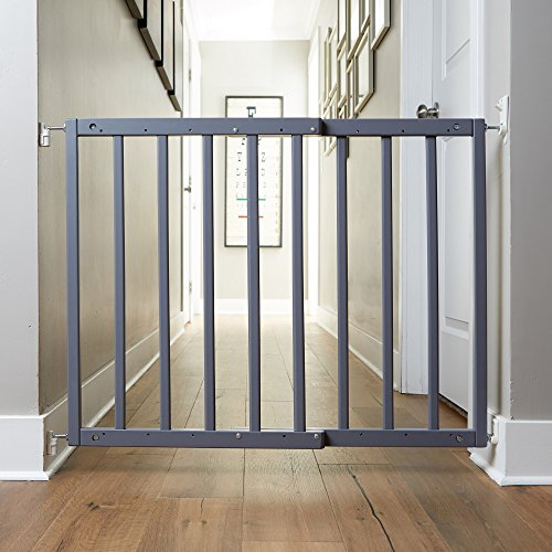 """Primetime Petz Safety Mate Expandable Pet and Baby Gate, Sturdy Wall Mountable Safety Gate for Hallways, Stairs, or Outdoor Use, Fits Openings from 24.5"""" to 41"""", Grey by Primetime Petz (Image #1)"""