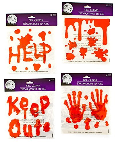 Halloween Bloody Drip Splatter Window Gel Clings - Pack of 4]()