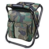 GWY Outdoor Folding Chair Portable Backpack Built in Cooler Chair Camping Hiking Picnic Fishing