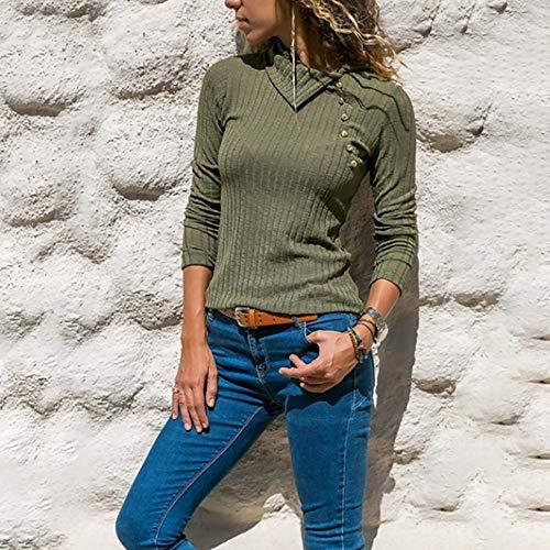 Maglia risvolto Cappuccio Felpe sottile Magliette Weant Elegante Verde Donna a Prospettiva T Tumblr Donna Donna Donna Top Blusa Donna Magliette Bottone Camicia Collo Sexy Maglione Shirt Eq1qXxzw