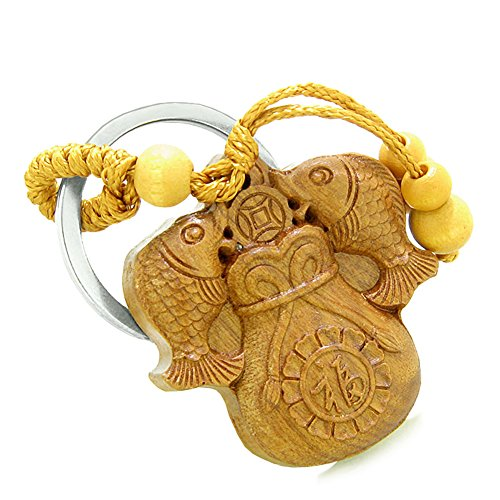 Amulet Double Lucky Fortune Fish Money Bag and Good Luck Coin Charms Feng Shui Symbols Keychain Blessing
