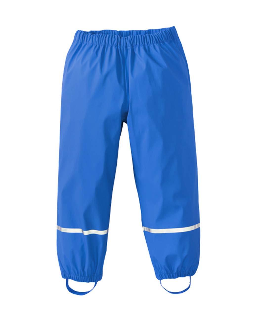 UDIY Kids' Waterproof Hiking Rain Pant Reflective Rainwear Blue 7Y by UDIY