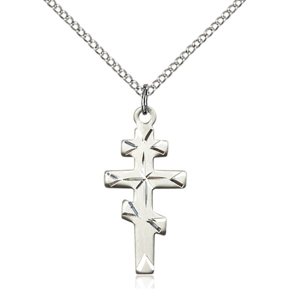Sterling Silver Greek Orthadox Cross Pendant 1 x 1/2 inches with Sterling Silver Lite Curb Chain Bliss Manufacturing 5416SS/18SS