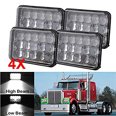 """4pcs 4""""x6"""" LED Headlights 5D Lens H4 Plug Hi-Lo Sealed Beam for Freightliner FLD120 FLD112 1998-2007 (Straight/Tractor Truck), 4x6 inch Headlamp Rectangular Replace H4651 H4652 H4656 H4666 H6454"""