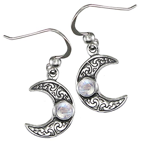 Sterling Silver Horned Moon Crescent Earrings with Natural Rainbow Moonstone