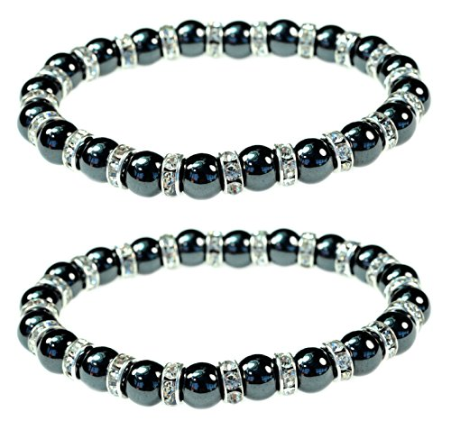 Women's Magnetic Hematite Bracelets with Shiny Rhinestones by PURPLE WHALE| Heals Arthritis and General Pain, Gemstones for Healthy Blood Circulation - Set of 2 (Whale Cord Keeper)