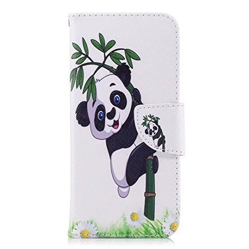 Samsung Galaxy A8Plus (2018) móvil, cowx PU Funda de piel para Samsung Galaxy A8Plus (2018) funda Panda bambú