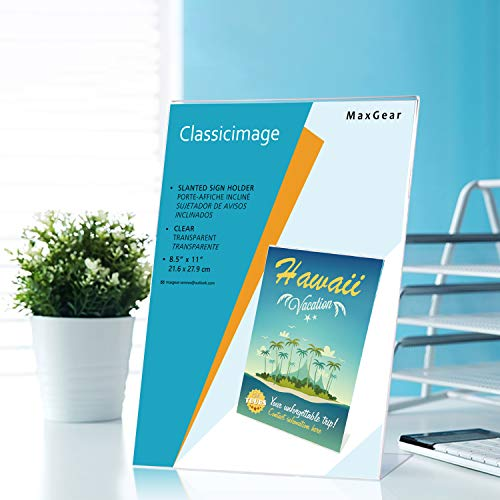 MaxGear Sign Holder 8.5'' X 11'' Slant Back Design Acrylic Sign Holders Clear Frames Table Top Sign Holder Plastic Display Stand - Pack of 6 by MaxGear (Image #5)