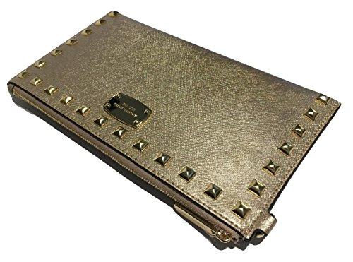 Michael Kors Saffiano Stud LG Zip Clutch (Pale - Kors Bag Gold Rose Michael