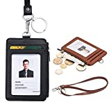 Wonyered 2-Pack Badge Holder PU Leather ID Name Badge Card Holder with 1 Key Ring 1 ID Window 4 Card Slots and 1 Zipper Pocket Black Brown