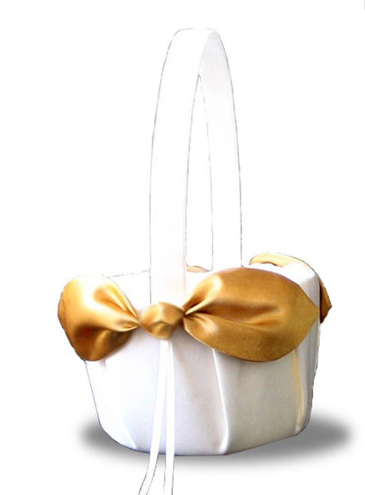 SACASUSA(™) Gold Satin Bow Ivory Wedding Flower Girl Basket