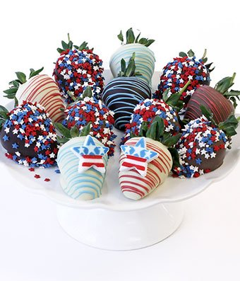 From You Flowers - Patriotic Belgian Chocolate Covered Strawberries - 12 Pieces