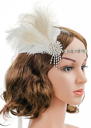 1920s Headpiece Fascinator Headband Flapper Gatsby Hair Clip Wedding Brooch with Peacock Feather