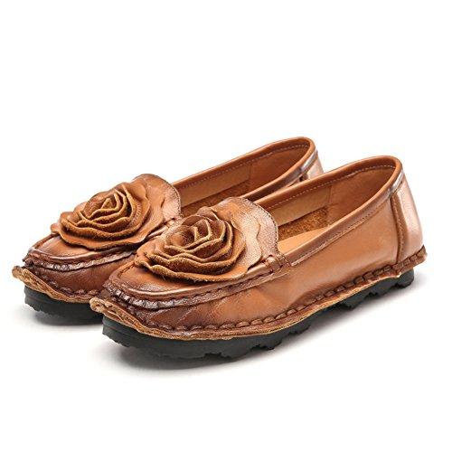 zapatos de moda de cuero inferiores suaves/La primera ronda de los zapatos ocasionales simples/ resorte flat-bottom zapatos C