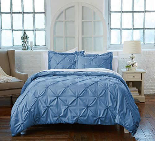 Great Bay Home Signature Pinch Pleated Pintuck Duvet Cover with Button Closure. Luxuriously Soft 100% Brushed Microfiber with Textured Pintuck Pleats and Corner Ties. By (Full/Queen, French Blue)