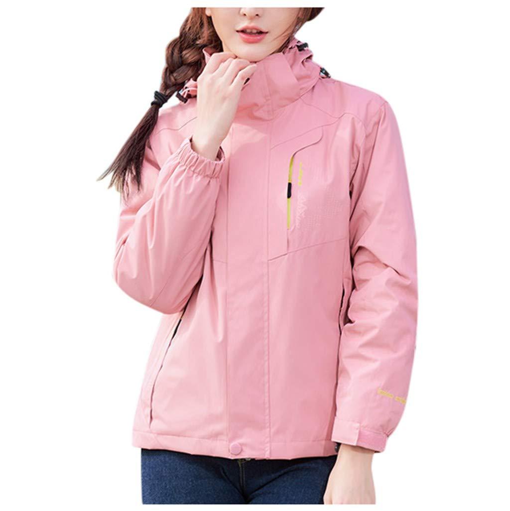 Pandaie Women 3 in 1 Jacket Hooded Detachable Liner Waterproof Windproof Thicken Warm Outdoor Ski Jacket Windbreaker Pink by Pandaie