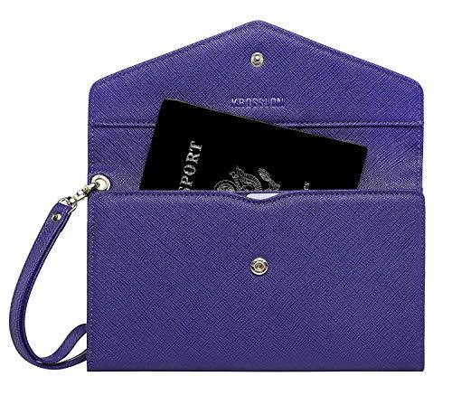 Krosslon Travel Passport Holder Rfid Blocking Tri-fold Wallet Document Organizer Bag with Wristlet, 202# Sailor Blue